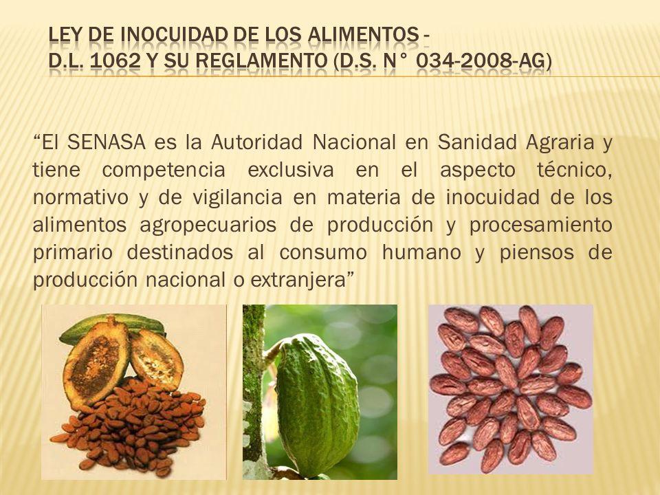 El SENASA es la Autoridad Nacional en Sanidad Agraria y tiene competencia exclusiva en el aspecto técnico, normativo y de vigilancia en materia de ino