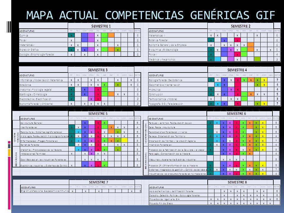 ACTUACIONES A REALIZAR Establecer un plan de enseñanza y evaluación de competencias genéricas a lo largo del GRADO.