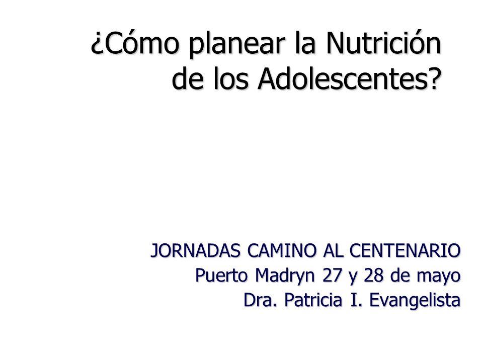 ¿Cómo planear la Nutrición de los Adolescentes? JORNADAS CAMINO AL CENTENARIO JORNADAS CAMINO AL CENTENARIO Puerto Madryn 27 y 28 de mayo Dra. Patrici