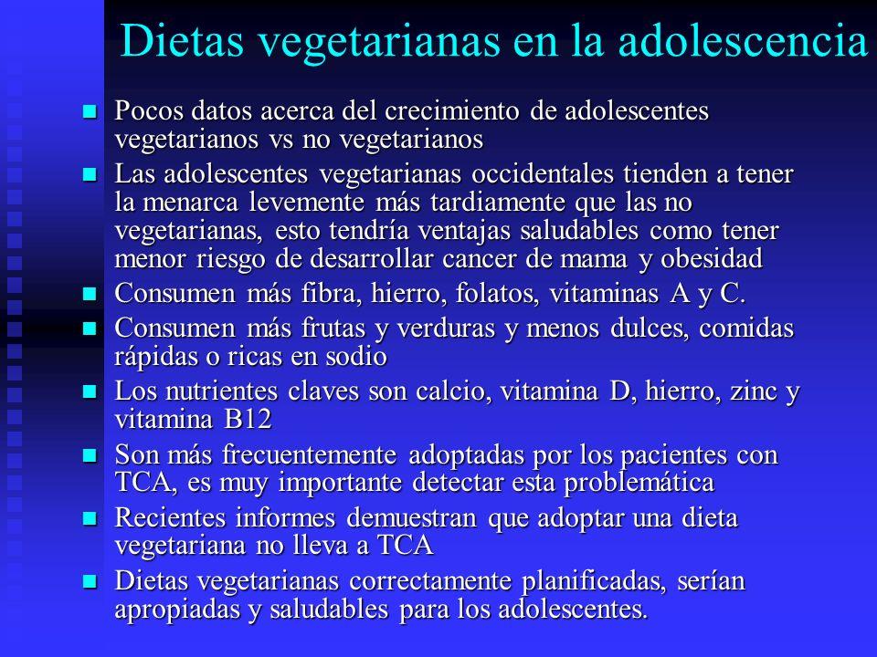 Dietas vegetarianas en la adolescencia Pocos datos acerca del crecimiento de adolescentes vegetarianos vs no vegetarianos Pocos datos acerca del creci