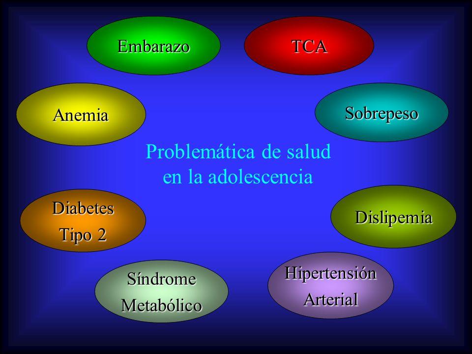 Problemática de salud en la adolescencia SobrepesoAnemia TCA Dislipemia HipertensiónArterial SíndromeMetabólico Diabetes Tipo 2 Embarazo