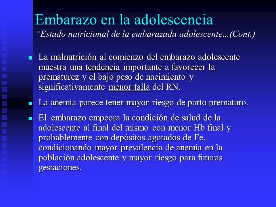 Embarazo en la adolescencia Estado nutricional de la embarazada adolescente...(Cont.) La malnutrición al comienzo del embarazo adolescente muestra una