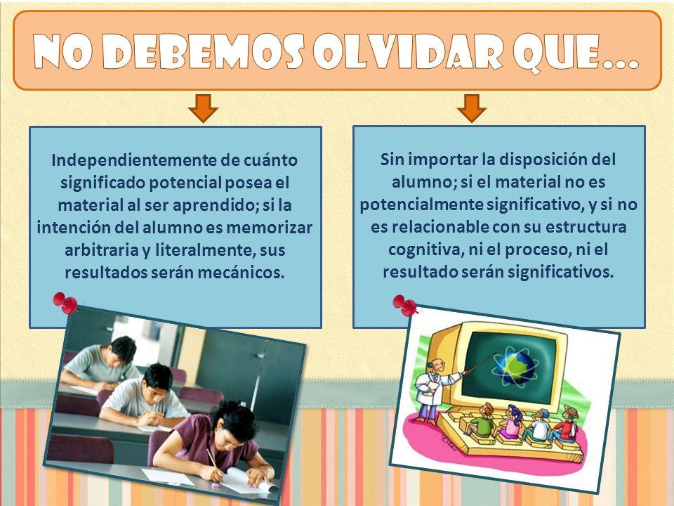 Independientemente de cuánto significado potencial posea el material al ser aprendido; si la intención del alumno es memorizar arbitraria y literalmen