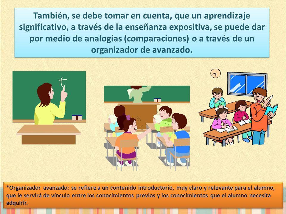 También, se debe tomar en cuenta, que un aprendizaje significativo, a través de la enseñanza expositiva, se puede dar por medio de analogías (comparac