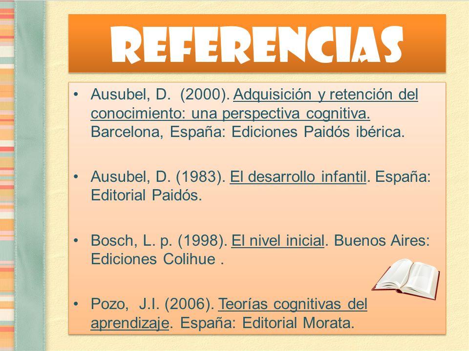 Referencias Ausubel, D. (2000). Adquisición y retención del conocimiento: una perspectiva cognitiva. Barcelona, España: Ediciones Paidós ibérica. Ausu