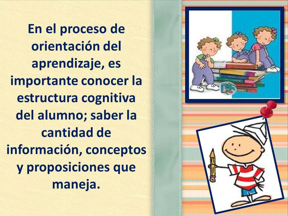 En el proceso de orientación del aprendizaje, es importante conocer la estructura cognitiva del alumno; saber la cantidad de información, conceptos y