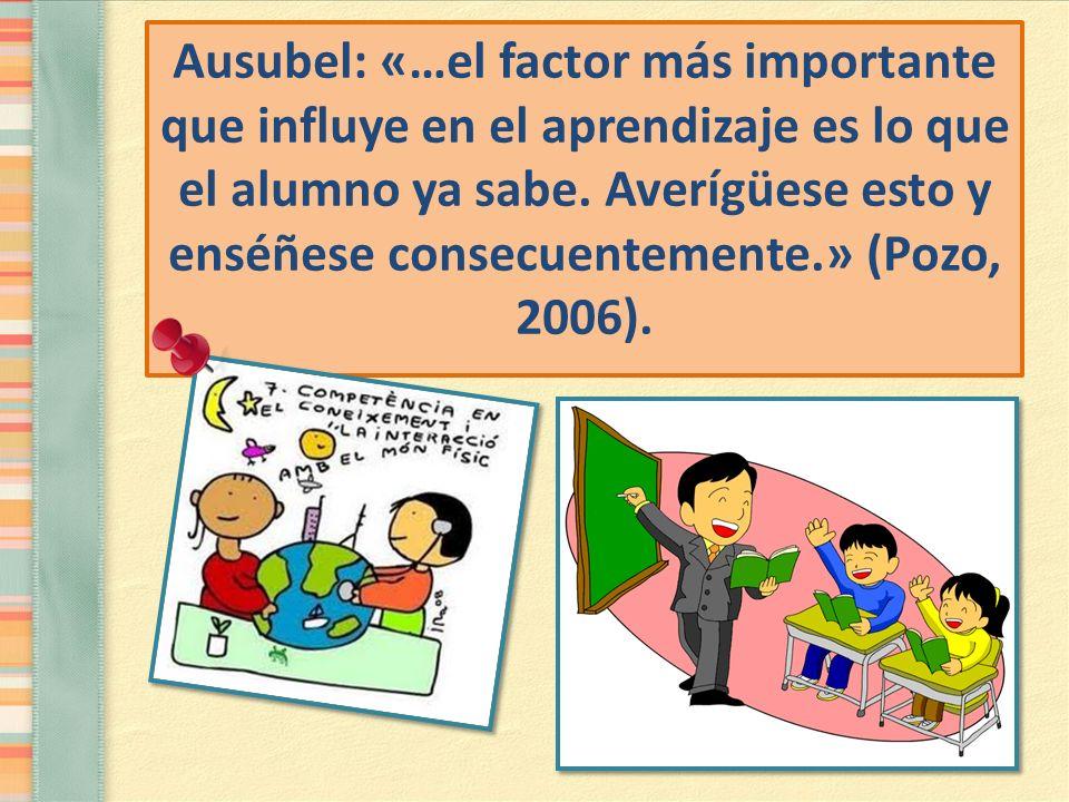 Ausubel: «…el factor más importante que influye en el aprendizaje es lo que el alumno ya sabe. Averígüese esto y enséñese consecuentemente.» (Pozo, 20