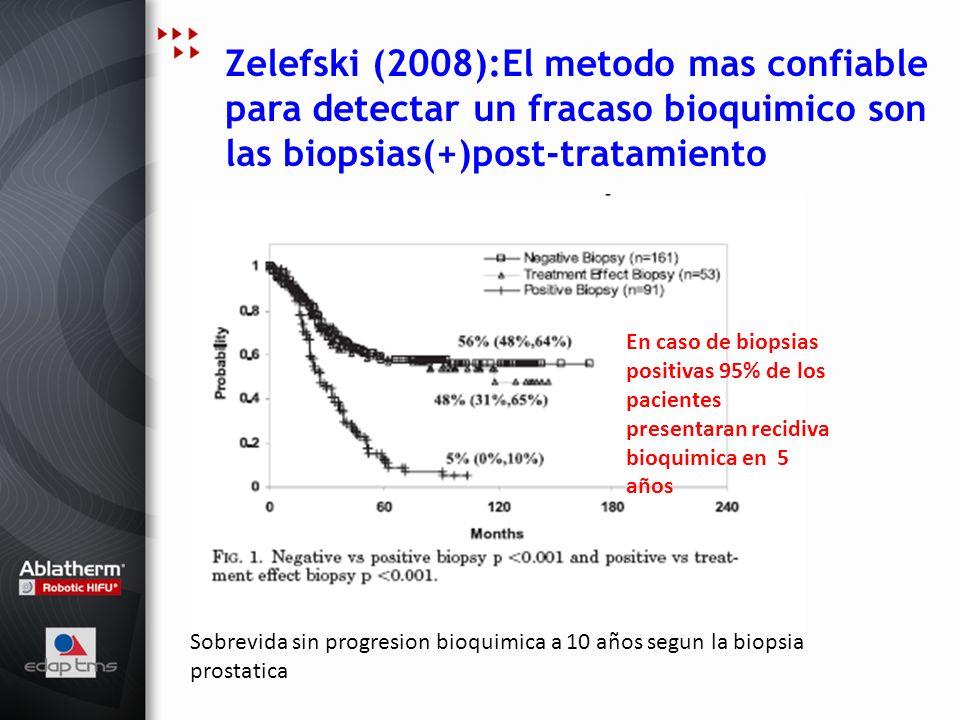 Zelefski (2008):El metodo mas confiable para detectar un fracaso bioquimico son las biopsias(+)post-tratamiento Sobrevida sin progresion bioquimica a