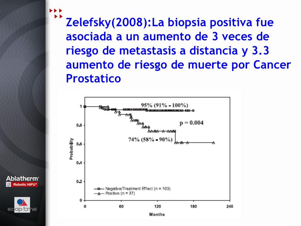 Zelefsky(2008):La biopsia positiva fue asociada a un aumento de 3 veces de riesgo de metastasis a distancia y 3.3 aumento de riesgo de muerte por Canc