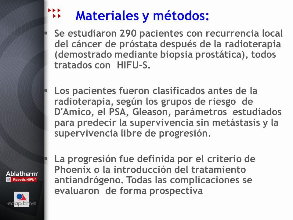 Materiales y métodos: Se estudiaron 290 pacientes con recurrencia local del cáncer de próstata después de la radioterapia (demostrado mediante biopsia