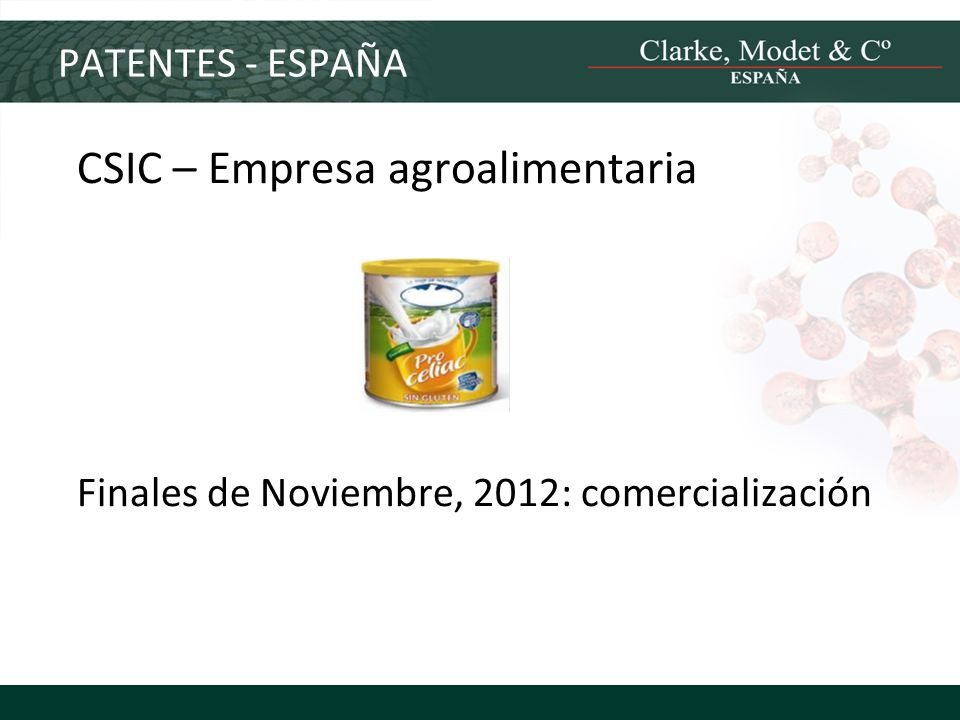 PATENTES - ESPAÑA CSIC – Empresa agroalimentaria Finales de Noviembre, 2012: comercialización