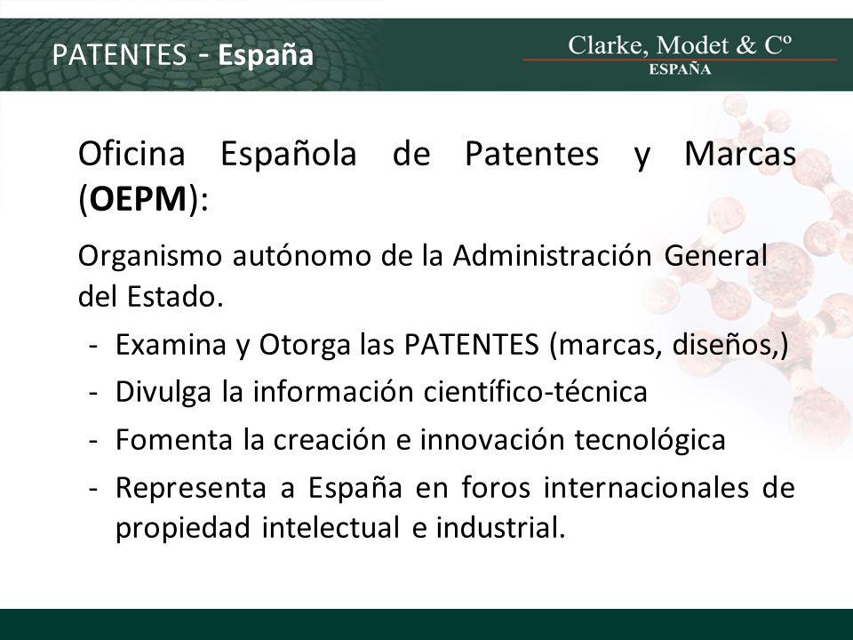 PATENTES - España Oficina Española de Patentes y Marcas (OEPM): Organismo autónomo de la Administración General del Estado. -Examina y Otorga las PATE