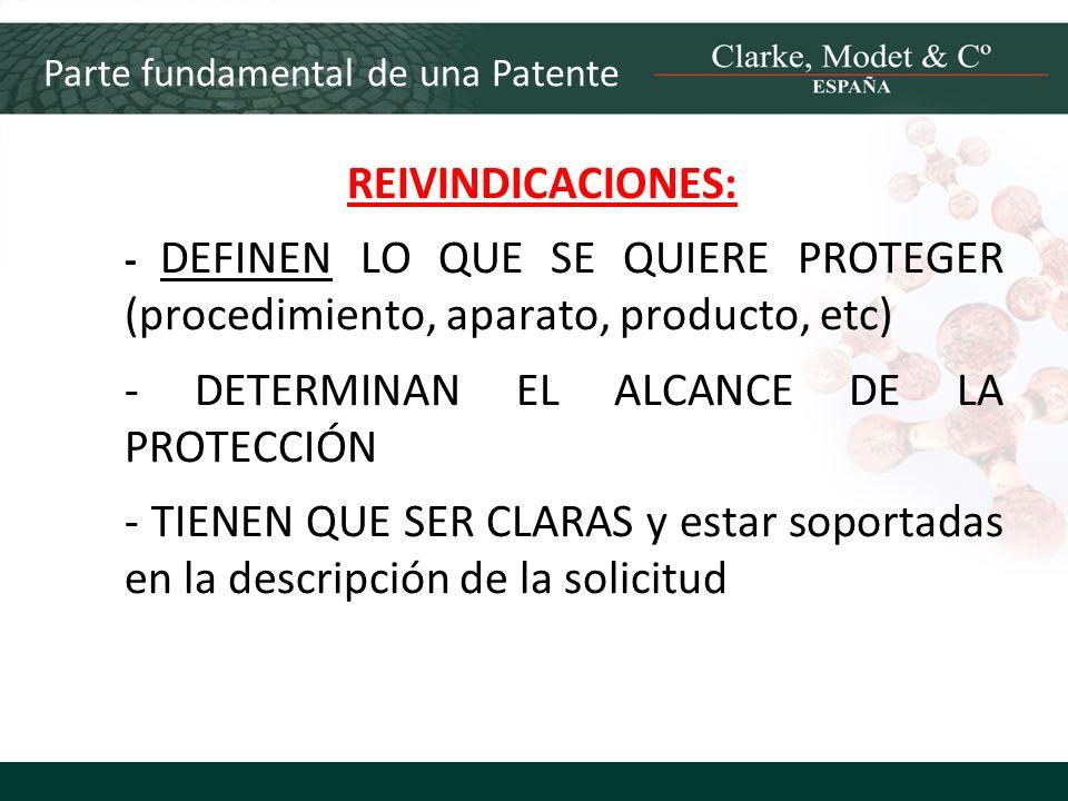 REIVINDICACIONES: - DEFINEN LO QUE SE QUIERE PROTEGER (procedimiento, aparato, producto, etc) - DETERMINAN EL ALCANCE DE LA PROTECCIÓN - TIENEN QUE SE