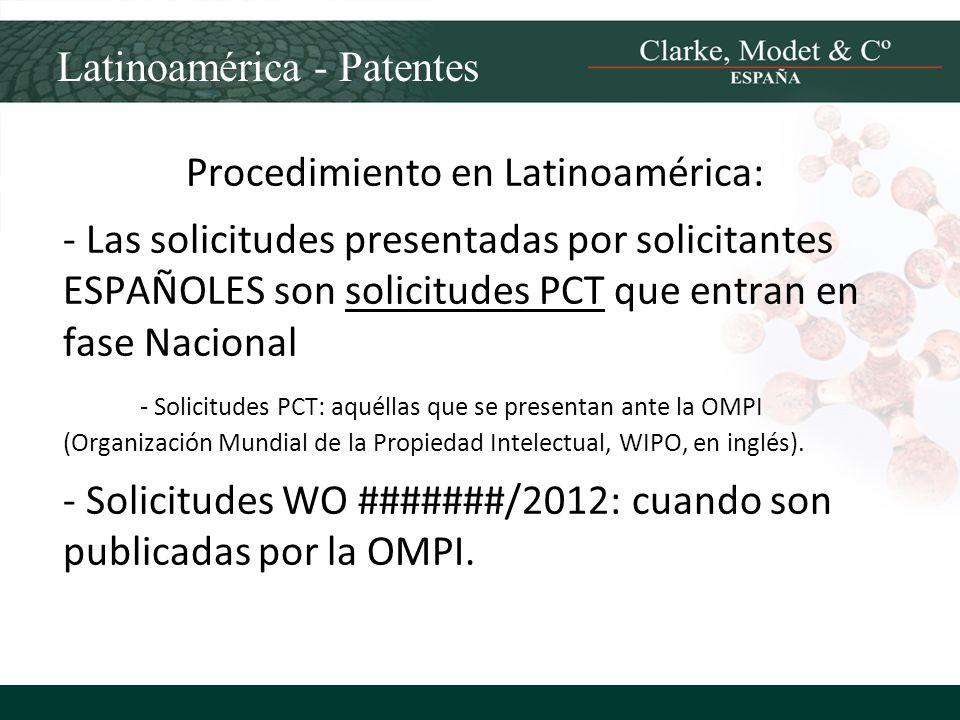 Latinoamérica - Patentes Procedimiento en Latinoamérica: - Las solicitudes presentadas por solicitantes ESPAÑOLES son solicitudes PCT que entran en fa