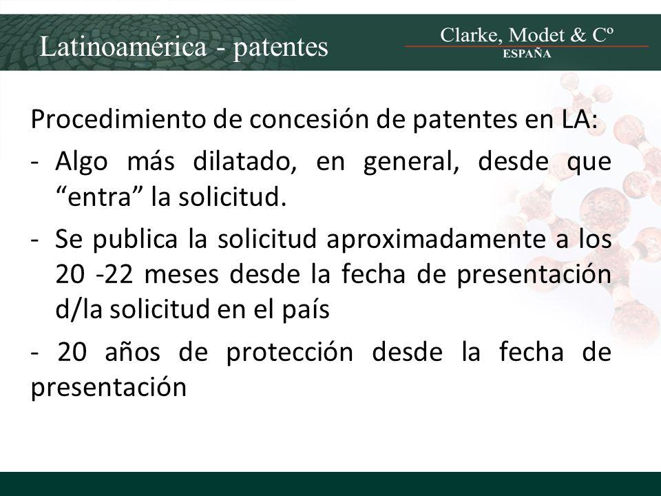 Latinoamérica - patentes Procedimiento de concesión de patentes en LA: -Algo más dilatado, en general, desde que entra la solicitud. -Se publica la so