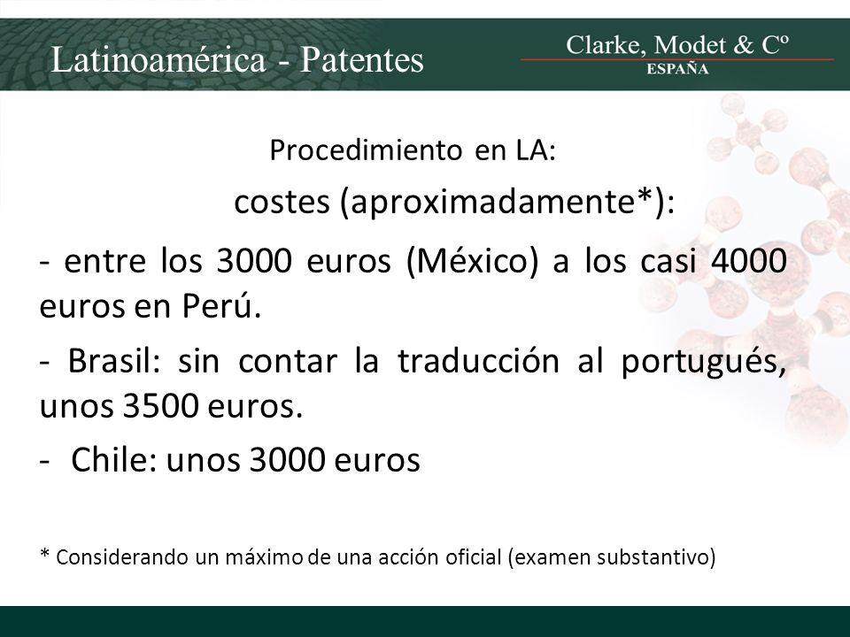 Latinoamérica - Patentes Procedimiento en LA: costes (aproximadamente*): - entre los 3000 euros (México) a los casi 4000 euros en Perú. - Brasil: sin