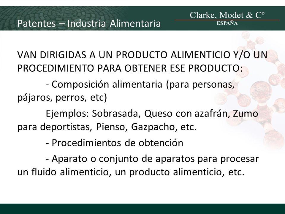 Patentes – Industria Alimentaria VAN DIRIGIDAS A UN PRODUCTO ALIMENTICIO Y/O UN PROCEDIMIENTO PARA OBTENER ESE PRODUCTO: - Composición alimentaria (pa