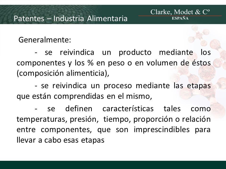 Patentes – Industria Alimentaria Generalmente: - se reivindica un producto mediante los componentes y los % en peso o en volumen de éstos (composición