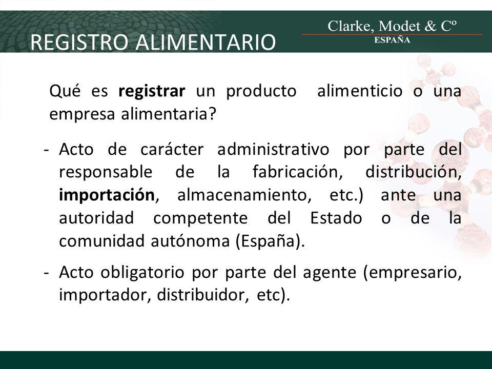 REGISTRO ALIMENTARIO Qué es registrar un producto alimenticio o una empresa alimentaria? -Acto de carácter administrativo por parte del responsable de