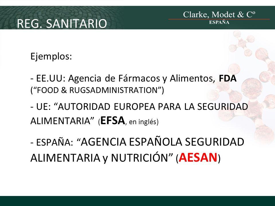 Ejemplos: - EE.UU: Agencia de Fármacos y Alimentos, FDA (FOOD & RUGSADMINISTRATION) - UE: AUTORIDAD EUROPEA PARA LA SEGURIDAD ALIMENTARIA ( EFSA, en i