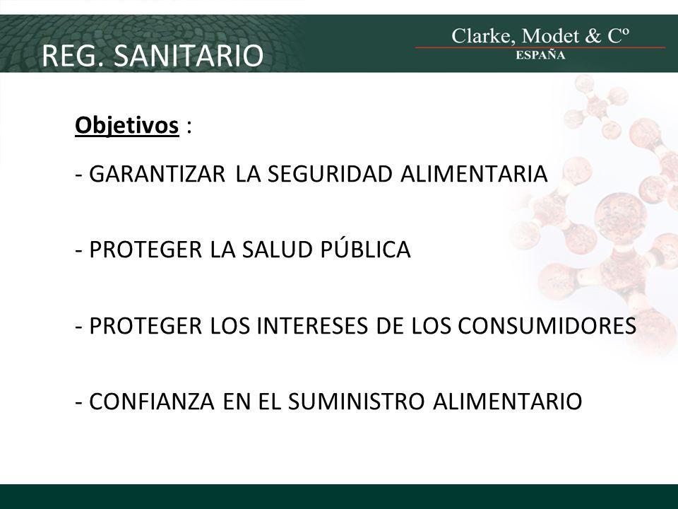 Objetivos : - GARANTIZAR LA SEGURIDAD ALIMENTARIA - PROTEGER LA SALUD PÚBLICA - PROTEGER LOS INTERESES DE LOS CONSUMIDORES - CONFIANZA EN EL SUMINISTR