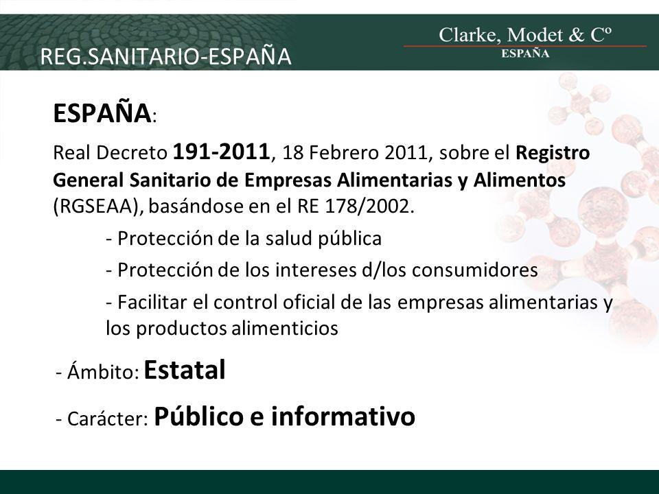 REG.SANITARIO-ESPAÑA ESPAÑA : Real Decreto 191-2011, 18 Febrero 2011, sobre el Registro General Sanitario de Empresas Alimentarias y Alimentos (RGSEAA