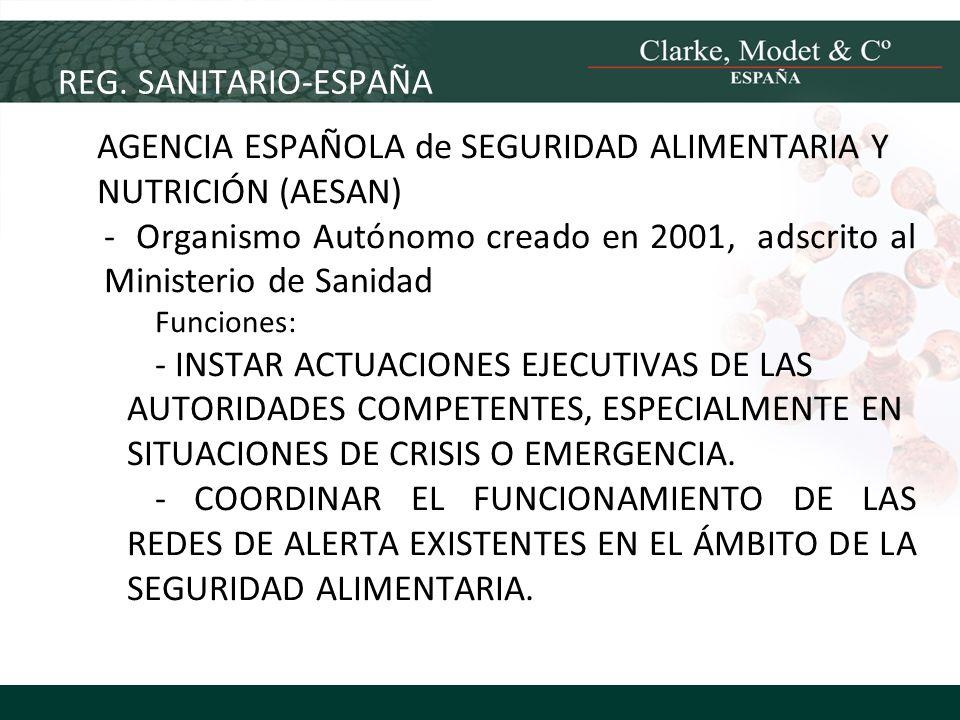 REG. SANITARIO-ESPAÑA AGENCIA ESPAÑOLA de SEGURIDAD ALIMENTARIA Y NUTRICIÓN (AESAN) - Organismo Autónomo creado en 2001, adscrito al Ministerio de San