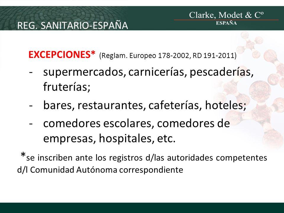 REG. SANITARIO-ESPAÑA EXCEPCIONES* (Reglam. Europeo 178-2002, RD 191-2011) -supermercados, carnicerías, pescaderías, fruterías; -bares, restaurantes,