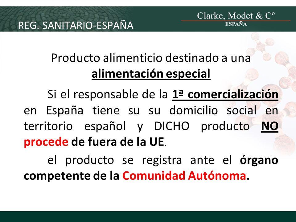 REG. SANITARIO-ESPAÑA Producto alimenticio destinado a una alimentación especial Si el responsable de la 1ª comercialización en España tiene su su dom