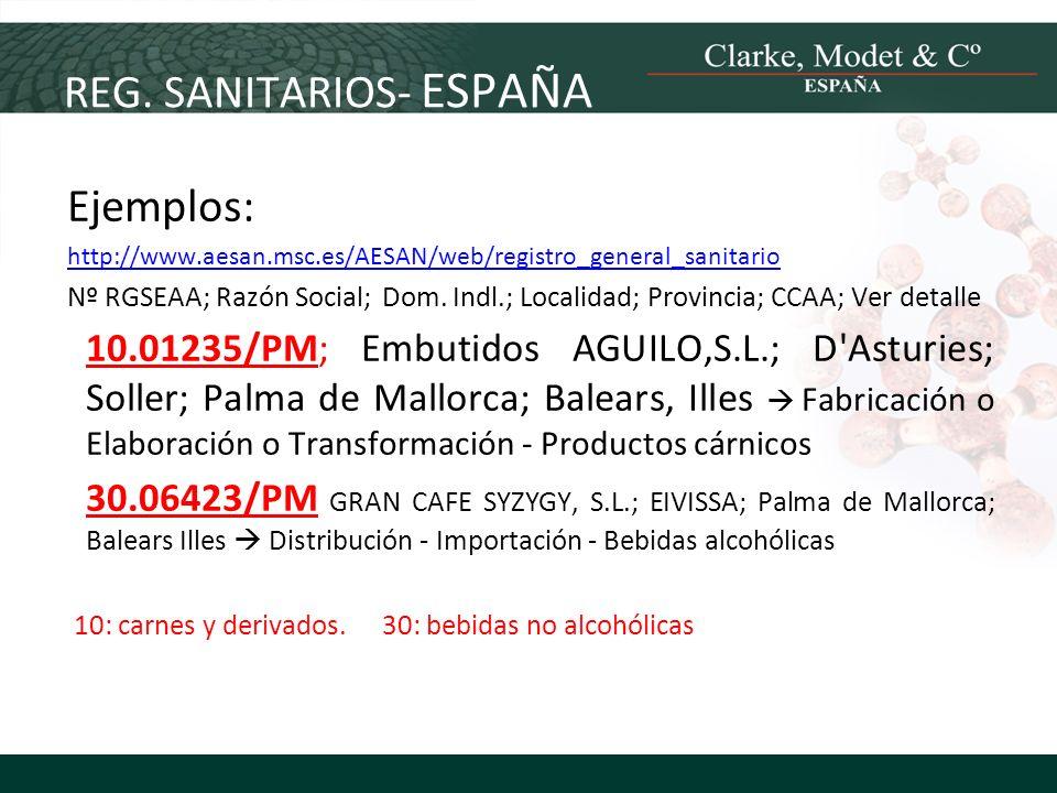REG. SANITARIOS- ESPAÑA Ejemplos: http://www.aesan.msc.es/AESAN/web/registro_general_sanitario Nº RGSEAA; Razón Social;Dom. Indl.; Localidad; Provinci