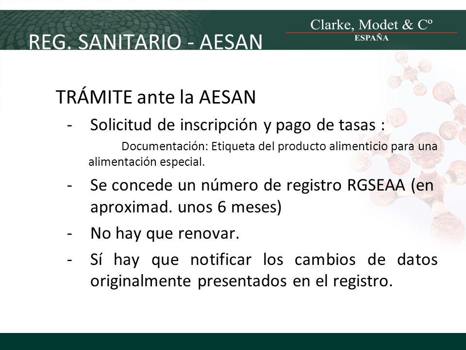 REG. SANITARIO - AESAN TRÁMITE ante la AESAN -Solicitud de inscripción y pago de tasas : Documentación: Etiqueta del producto alimenticio para una ali
