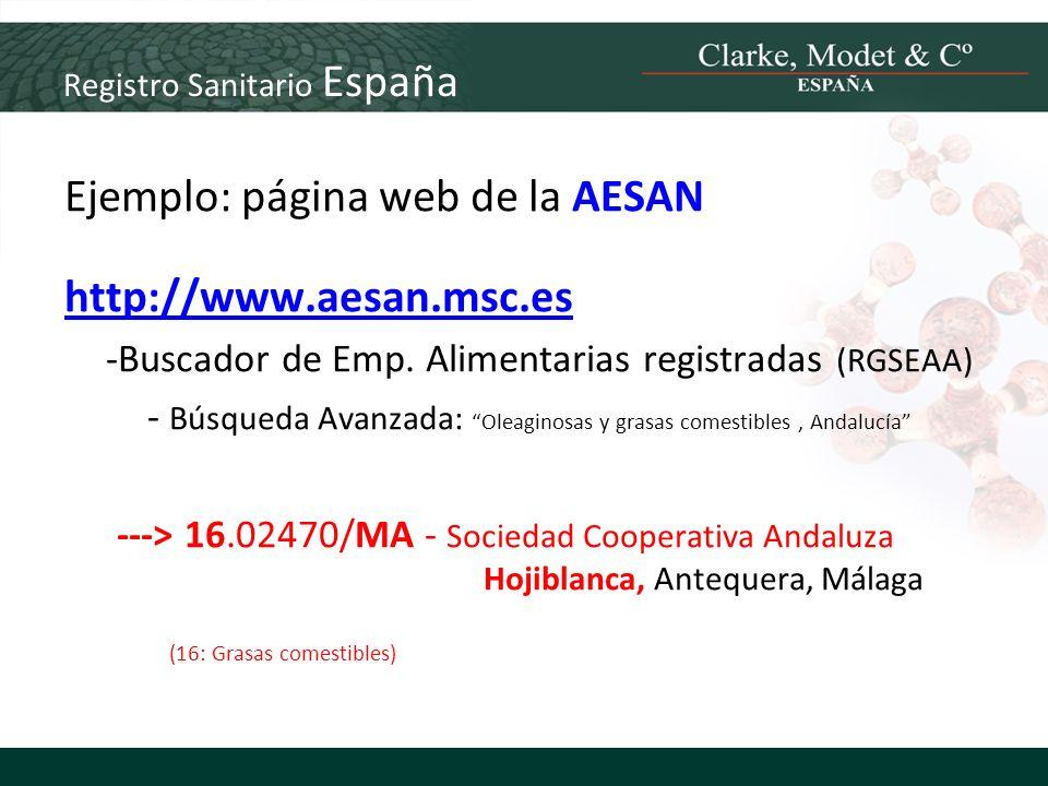 Registro Sanitario España Ejemplo: página web de la AESAN http://www.aesan.msc.es -Buscador de Emp. Alimentarias registradas (RGSEAA) - Búsqueda Avanz