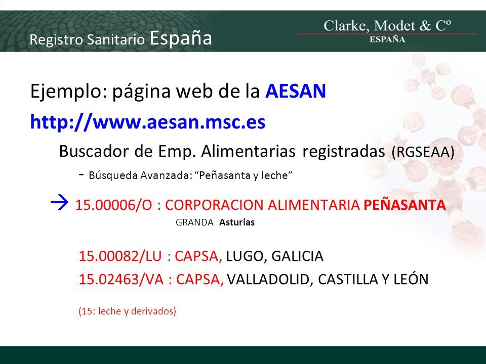Registro Sanitario España Ejemplo: página web de la AESAN http://www.aesan.msc.es Buscador de Emp. Alimentarias registradas (RGSEAA) - Búsqueda Avanza