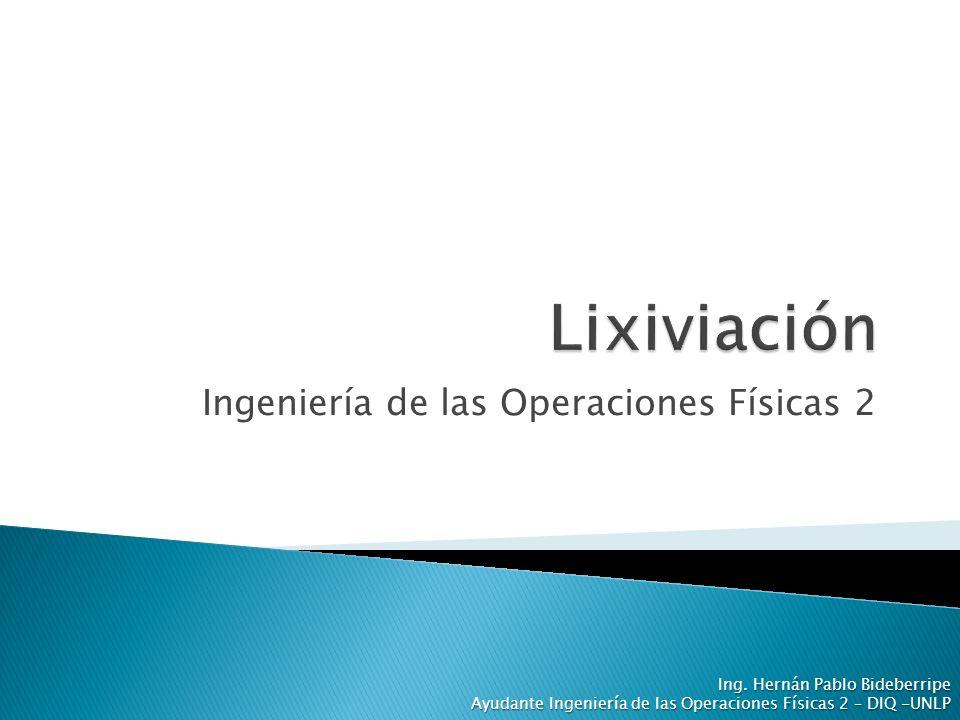 Ingeniería de las Operaciones Físicas 2 Ing. Hernán Pablo Bideberripe Ayudante Ingeniería de las Operaciones Físicas 2 – DIQ -UNLP