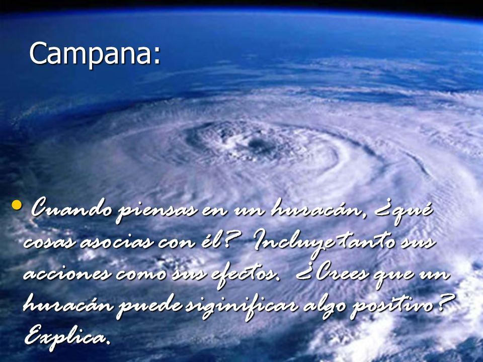 Cuando piensas en un huracán, ¿qué cosas asocias con él? Incluye tanto sus acciones como sus efectos. ¿Crees que un huracán puede siginificar algo pos
