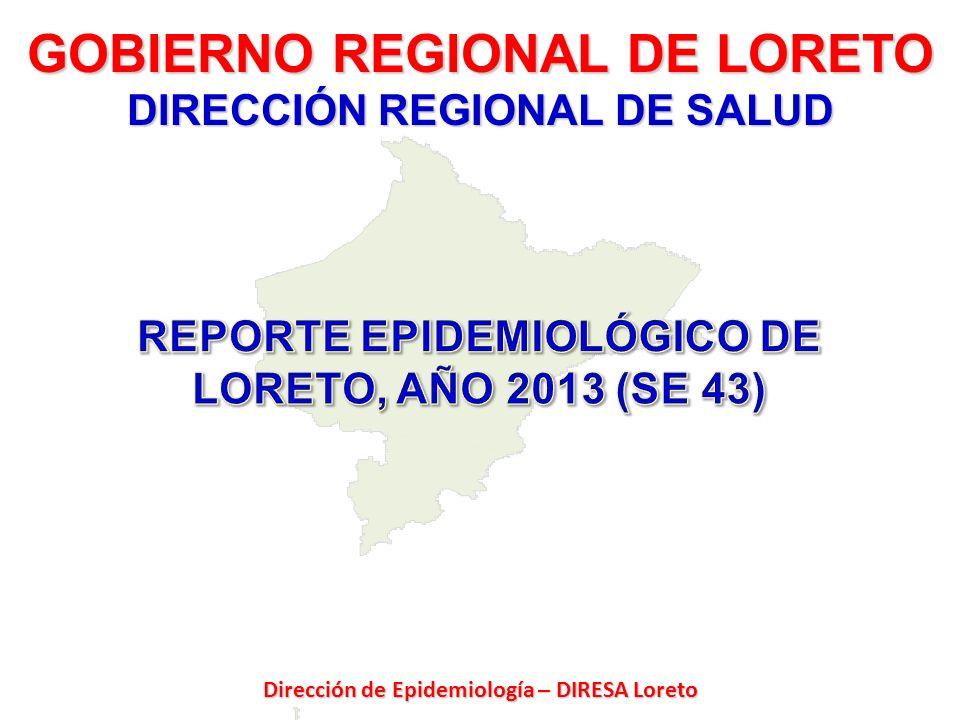 Fuente: Dirección de Epidemiología – DIRESA Loreto Hasta la SE 43 se reportó 45059 casos febriles; 36813 casos (81.7%) son malaria, 3406 (7.6%) dengue, 1271 (2.8%) leptospirosis y 3569 (7.9%) febriles inespecíficos.