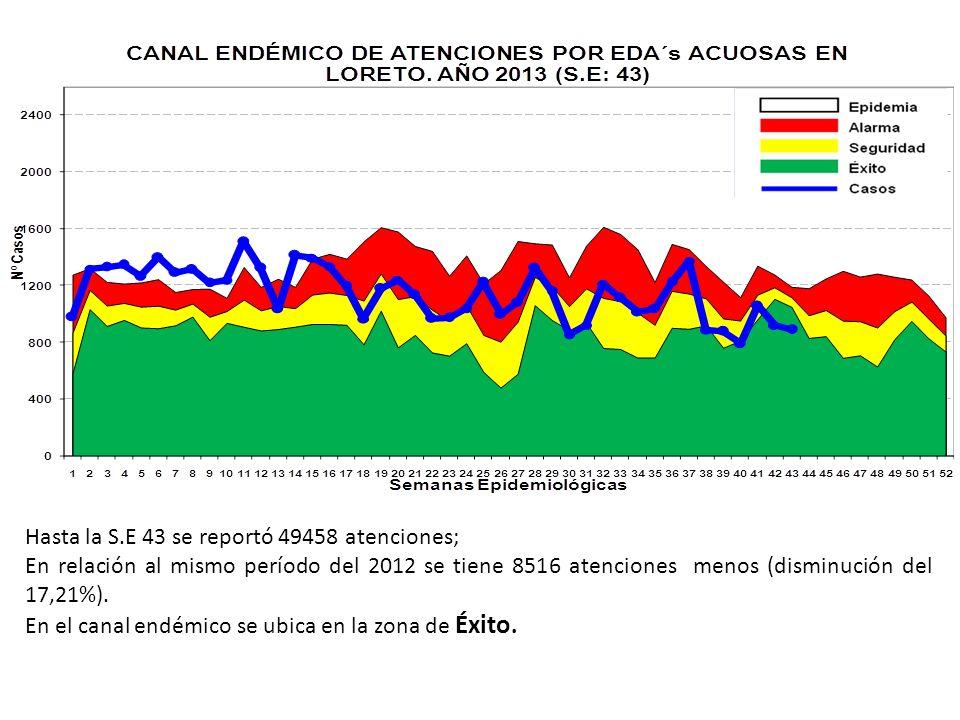 Hasta la S.E 43 se reportó 49458 atenciones; En relación al mismo período del 2012 se tiene 8516 atenciones menos (disminución del 17,21%). En el cana