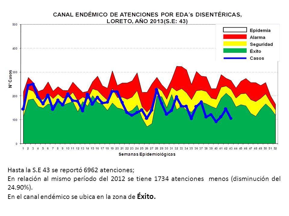 Hasta la S.E 43 se reportó 6962 atenciones; En relación al mismo período del 2012 se tiene 1734 atenciones menos (disminución del 24.90%). En el canal