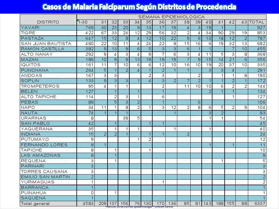 Fuente: Dirección de Epidemiología – DIRESA Loreto