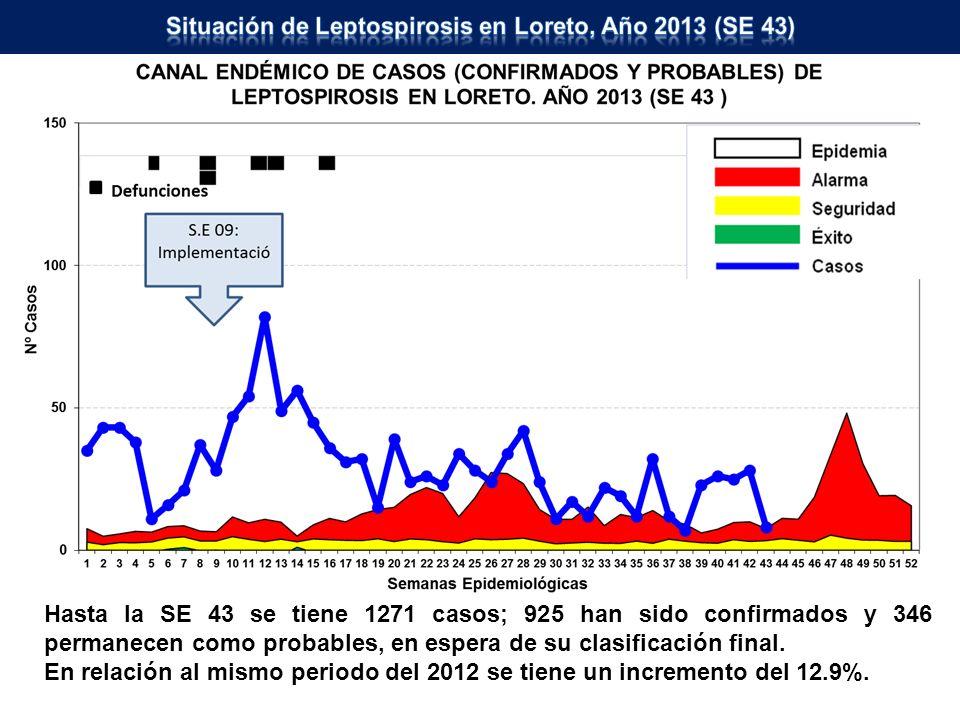 Hasta la SE 43 se tiene 1271 casos; 925 han sido confirmados y 346 permanecen como probables, en espera de su clasificación final. En relación al mism