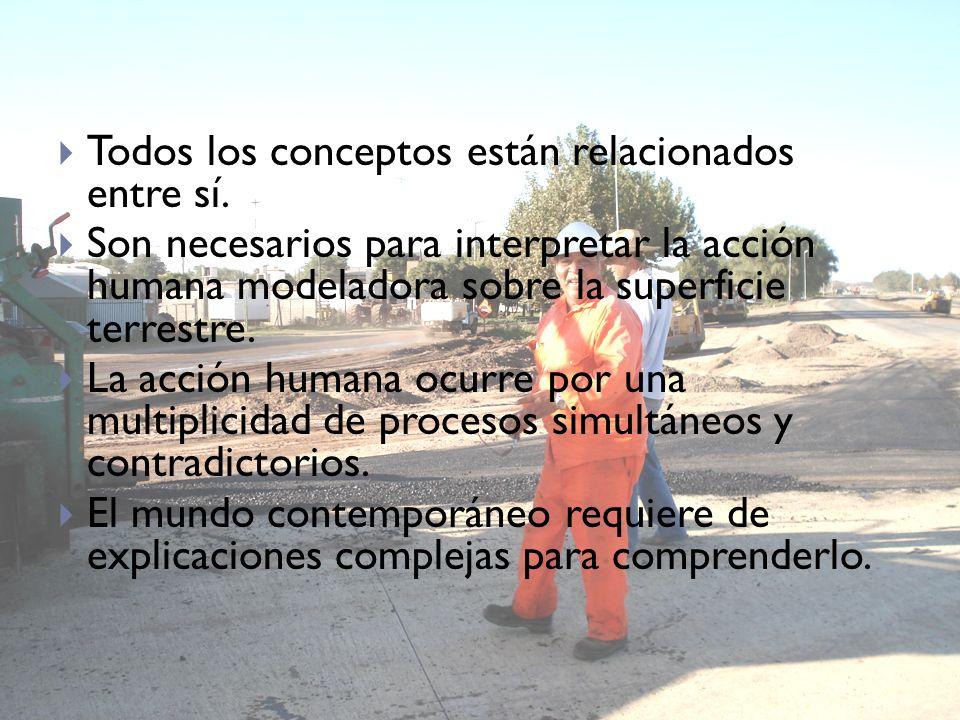 Todos los conceptos están relacionados entre sí. Son necesarios para interpretar la acción humana modeladora sobre la superficie terrestre. La acción
