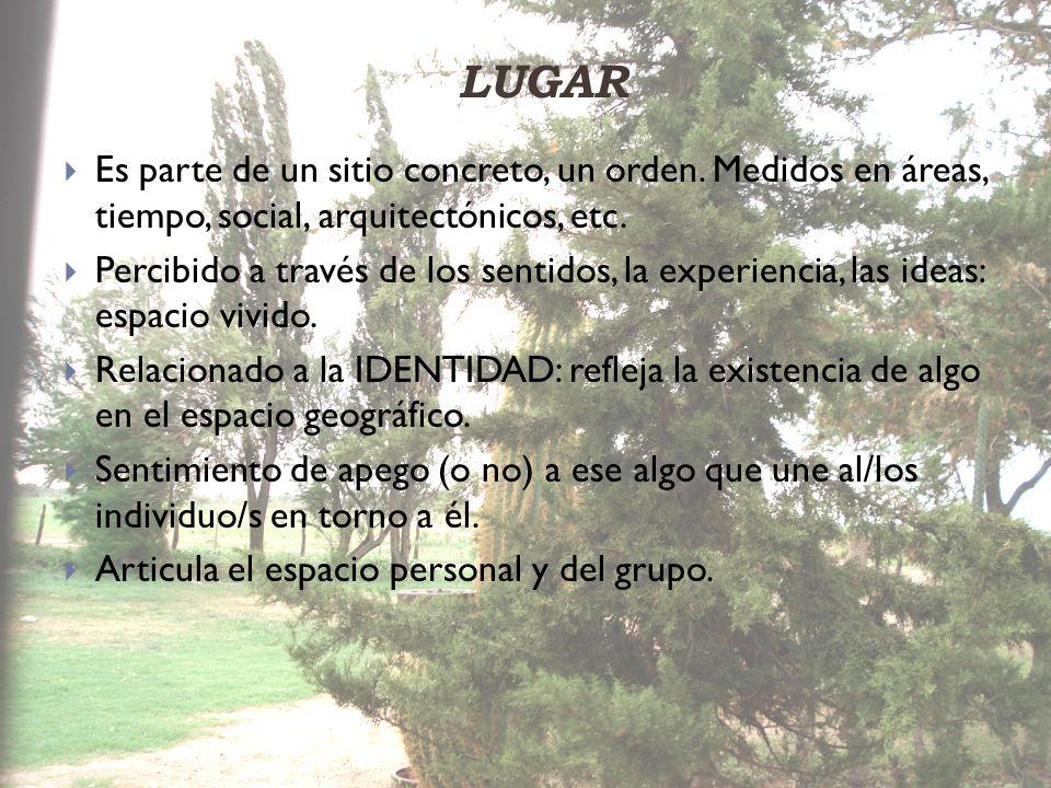 LUGAR Es parte de un sitio concreto, un orden. Medidos en áreas, tiempo, social, arquitectónicos, etc. Percibido a través de los sentidos, la experien