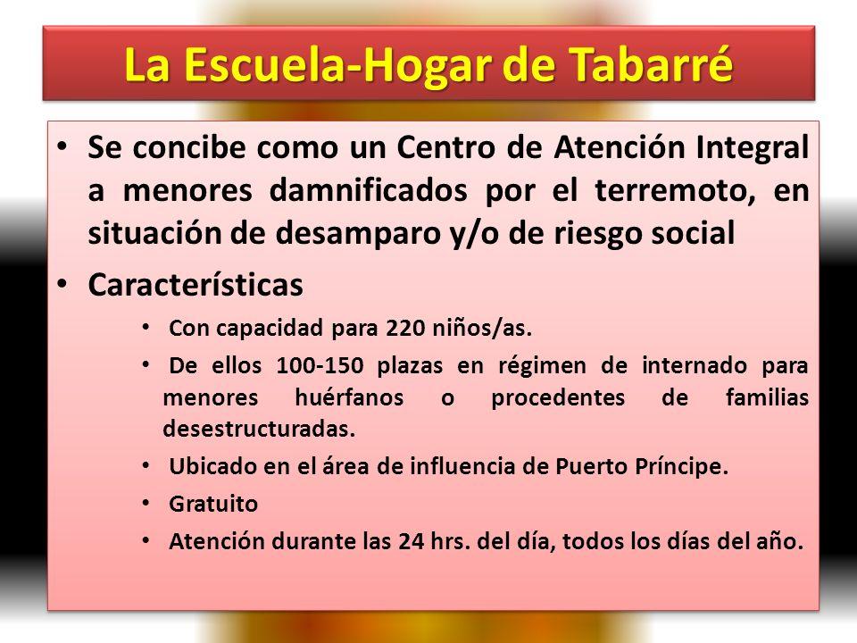 La Escuela-Hogar de Tabarré Se concibe como un Centro de Atención Integral a menores damnificados por el terremoto, en situación de desamparo y/o de riesgo social Características Con capacidad para 220 niños/as.