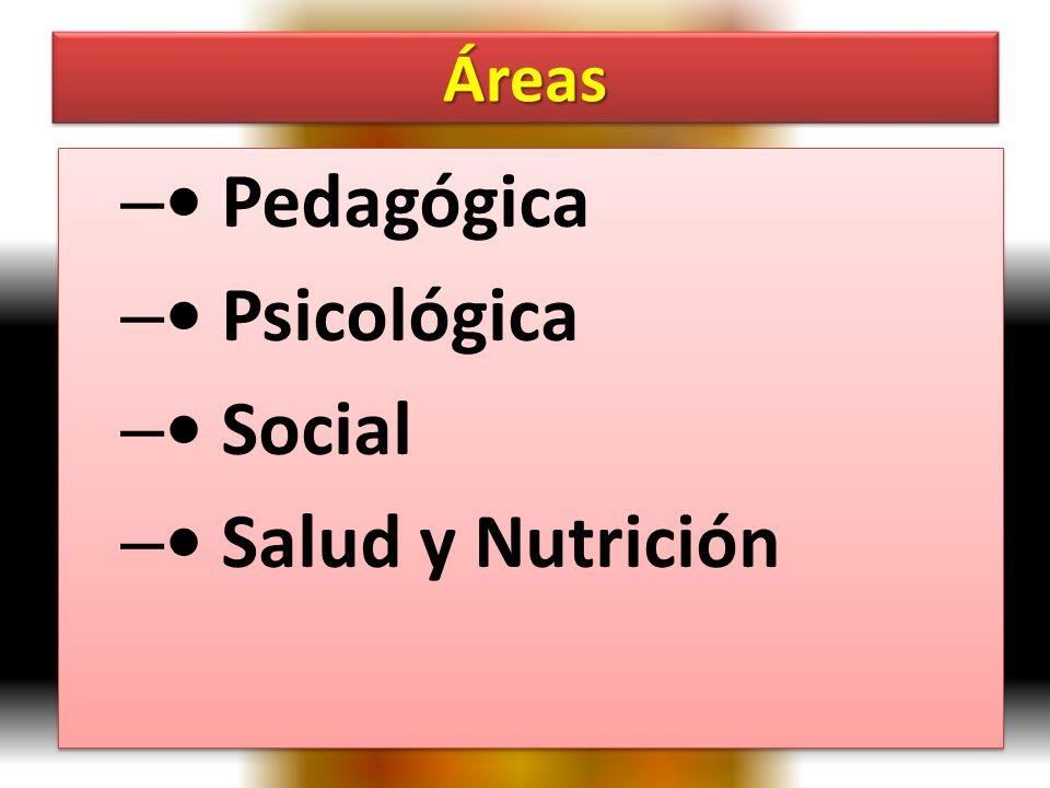 ÁreasÁreas – Pedagógica – Psicológica – Social – Salud y Nutrición – Pedagógica – Psicológica – Social – Salud y Nutrición
