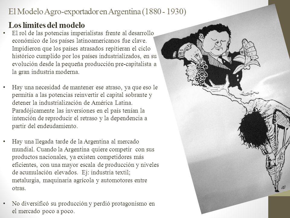 El Modelo Agro-exportador en Argentina (1880 - 1930) Los límites del modelo El rol de las potencias imperialistas frente al desarrollo económico de lo