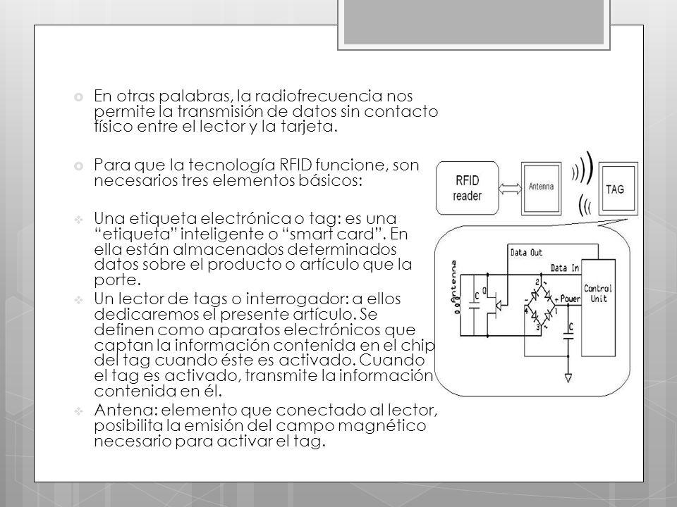 En otras palabras, la radiofrecuencia nos permite la transmisión de datos sin contacto físico entre el lector y la tarjeta.