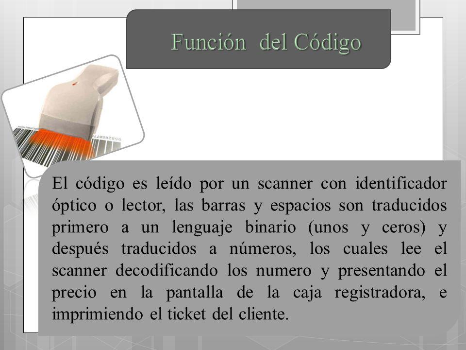El código es leído por un scanner con identificador óptico o lector, las barras y espacios son traducidos primero a un lenguaje binario (unos y ceros) y después traducidos a números, los cuales lee el scanner decodificando los numero y presentando el precio en la pantalla de la caja registradora, e imprimiendo el ticket del cliente.
