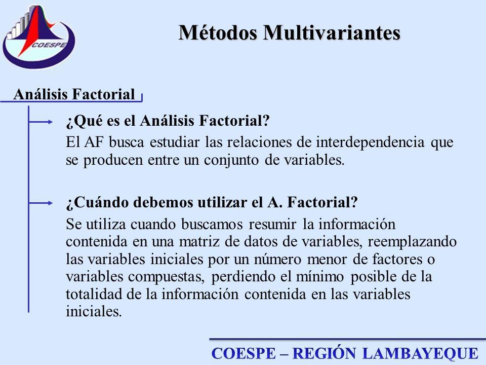 Métodos Multivariantes ¿Qué es el Análisis Factorial? El AF busca estudiar las relaciones de interdependencia que se producen entre un conjunto de var