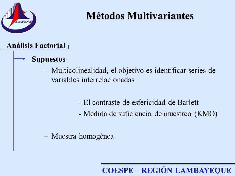 Métodos Multivariantes Supuestos –Multicolinealidad, el objetivo es identificar series de variables interrelacionadas - El contraste de esfericidad de