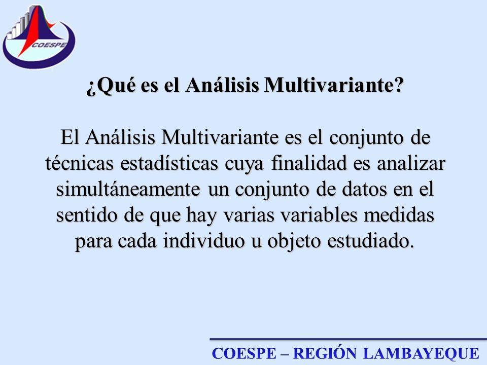 ¿Qué es el Análisis Multivariante? El Análisis Multivariante es el conjunto de técnicas estadísticas cuya finalidad es analizar simultáneamente un con